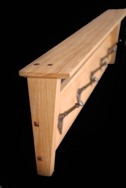 oak coat rail