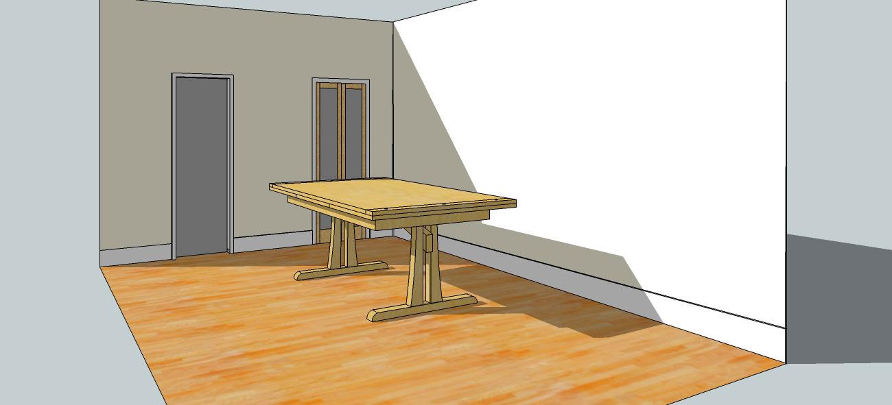meubles-artisanal Croquis d'une table à rallonge