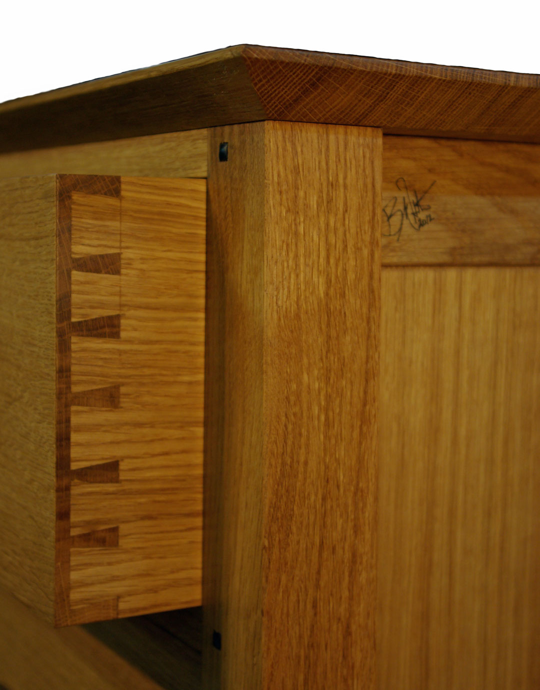 hand cut dovetails and pegged tenons